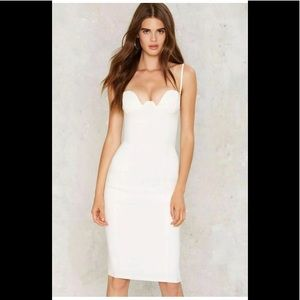 Nasty Gal White Taut and Bothered Midi Dress